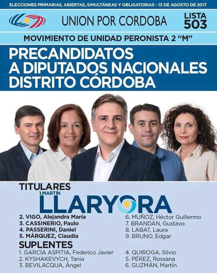 La boleta de Unión por Córdoba del 2017