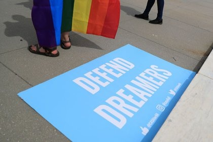 "A banner in defense ""Dreamers"" At a rally in Washington"