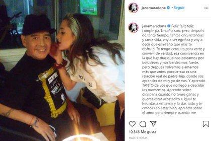 """Jana y un tierno saludo para el """"Diez"""" (Foto: Instagram)"""