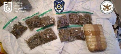 El trabajo conjunto entre ambas dependencias permitió incautar narcóticos como marihuana y cocaína (Foto: FGJCDMX)