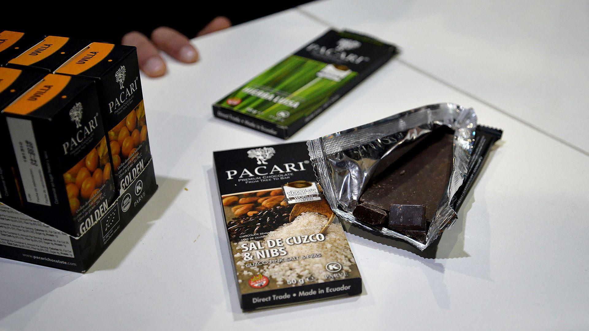 Con sal de Cuzco y Nibs, uno de los chocolate estrella del stand saludable orgánico