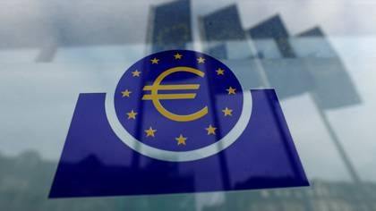 FILE PHOTO: The European Central Bank (ECB) logo is pictured before a news conference on the outcome of the meeting of the Governing Council in Frankfurt, Germany, January 23, 2020. REUTERS/Ralph Orlowski