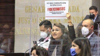 Padierna, una de las promotoras de la desaparición de los fideicomisos, fue una de las que mostró su impotencia por el nuevo retraso (Foto: Twitter @Dolores_PL)