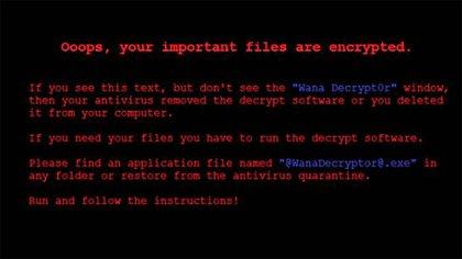 Cuando el virus de este viernes infecta una computadora, aparece esta imagen en la pantalla