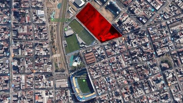 Marcado en rojo, los terrenos que podrían ser cedidos a Boca para edificar la nueva Bombonera