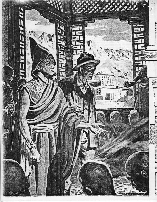 Ilustración de Fred Meyer Schroder junto al monje budista Bogdo