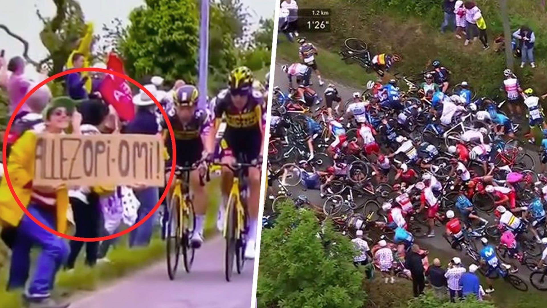 Caída masiva en el Tour de France 2021.