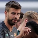 Soccer Football - Champions League - FC Barcelona Training - Estadio da Luz, Lisbon, Portugal - August 13, 2020 FC Barcelona's Gerard Pique during training Manu Fernandez/Pool via REUTERS