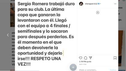 El mensaje de Eliana Guercio en Instagram