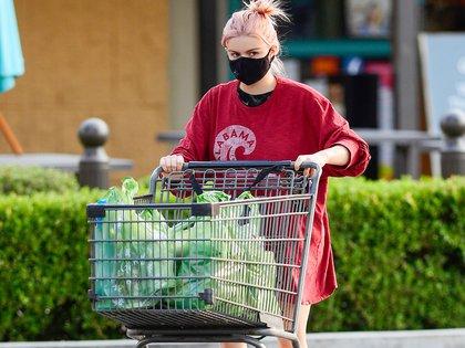 """Ariel Winter fue vista haciendo compras en Los Ángeles y estrenó nuevo look. La actriz de 22 años -que se destaca en la serie """"Modern family""""- se tiñó el cabello de rosa y lo presentó en su cuenta de Instagram el Día del Trabajador"""