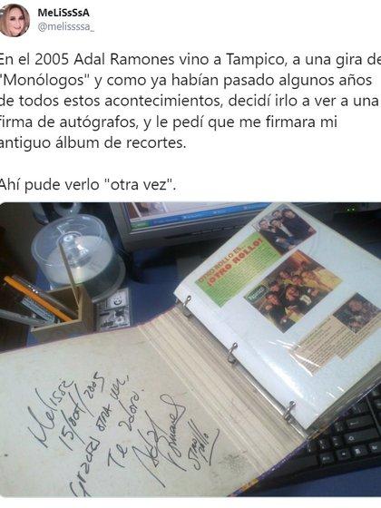 El autógrafo que, ya como adulta, recibió Melissa por parte de Adal Ramones  (Foto: Twitter @melissssa_)
