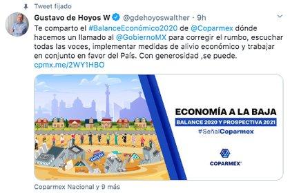 """Gustavo de Hoyos pidió al Gobierno de México """"corregir el rumbo e implementar medidas de alivio económico"""" en favor del país (Foto: Twitter)"""