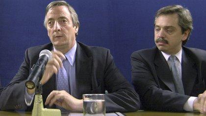 Néstor Kirchner y su jefe de Gabinete, Alberto Fernández