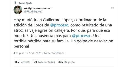 Confirman deceso del editor Juan Guillermo López (Foto: Twitter / @RRodr1guezC)
