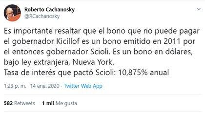El mensaje de Cachanosky en la red social