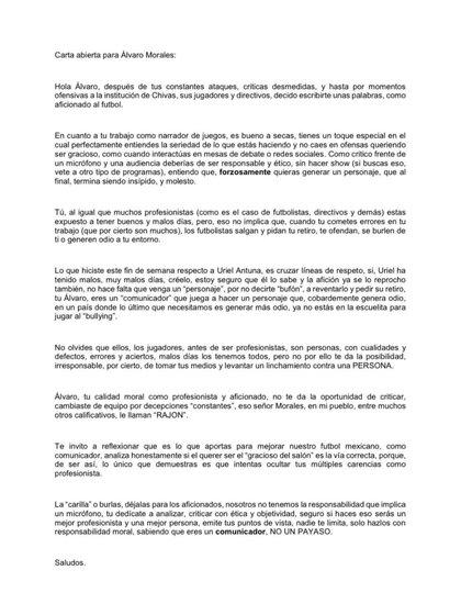 Esta es la carta que un aficionado le envió a Álvaro Morales. (Foto: Twitter)