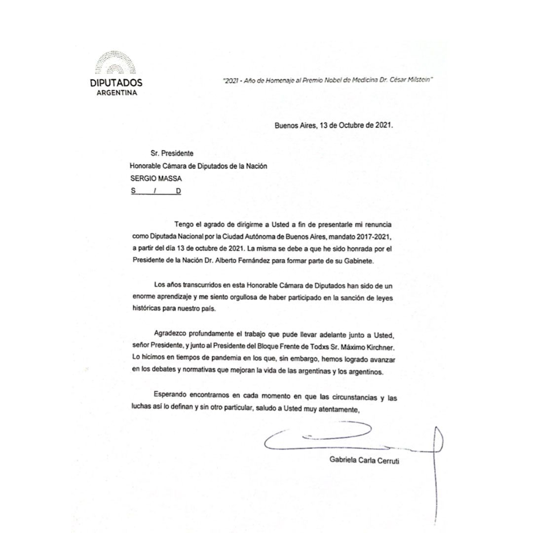 Renuncia Gabriela Cerruti