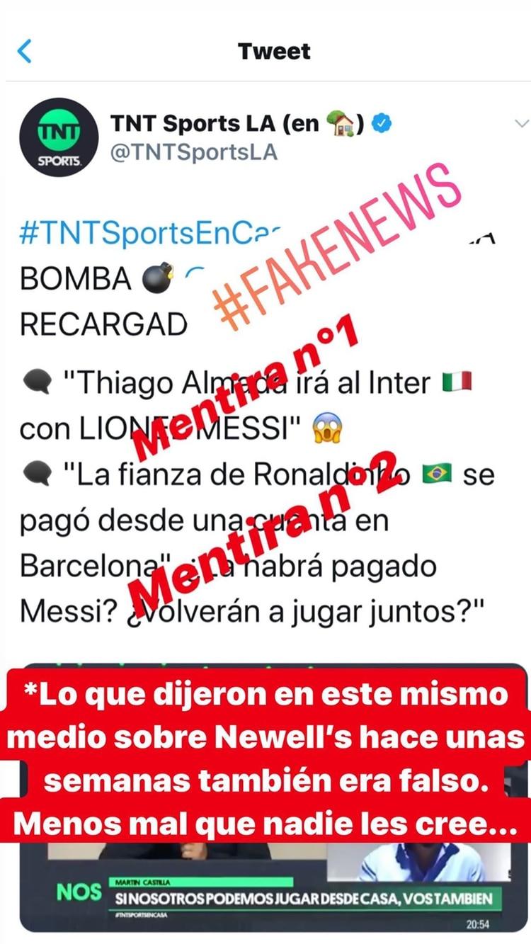 La publicación en la que Messi expresó su enojo