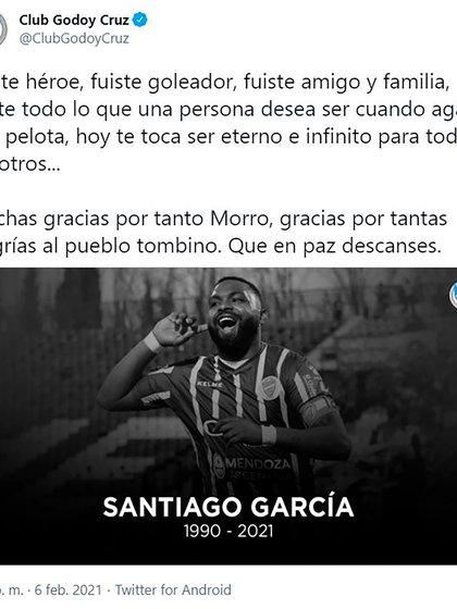 El mensaje de Godoy Cruz por la muerte de García