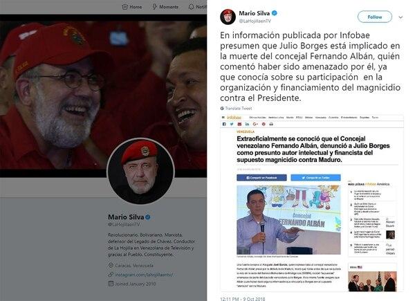 Mario Silva, conductor del programa chavista La Hojilla TV, viralizó la noticia falsa