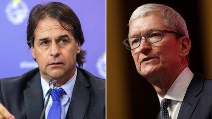 Foto partida del presidente de Uruguay, Luis Lacalle Pou, y el CEO de Apple, Tim Cook.