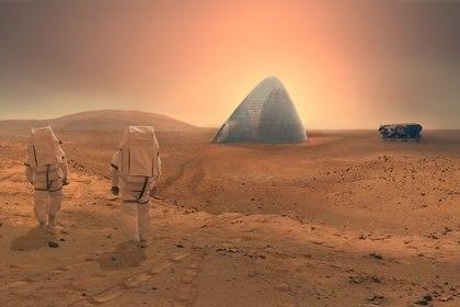 Una proyección artística de la casa de hielo en Marte.
