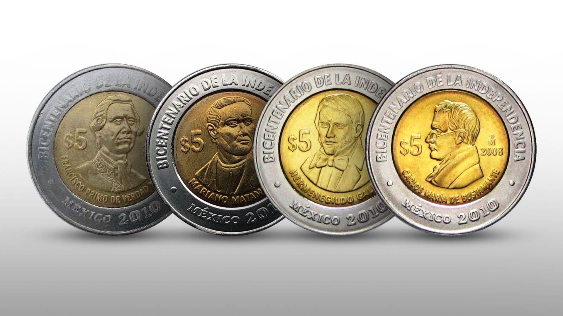 monedas 5 pesos Independencia. Infobae