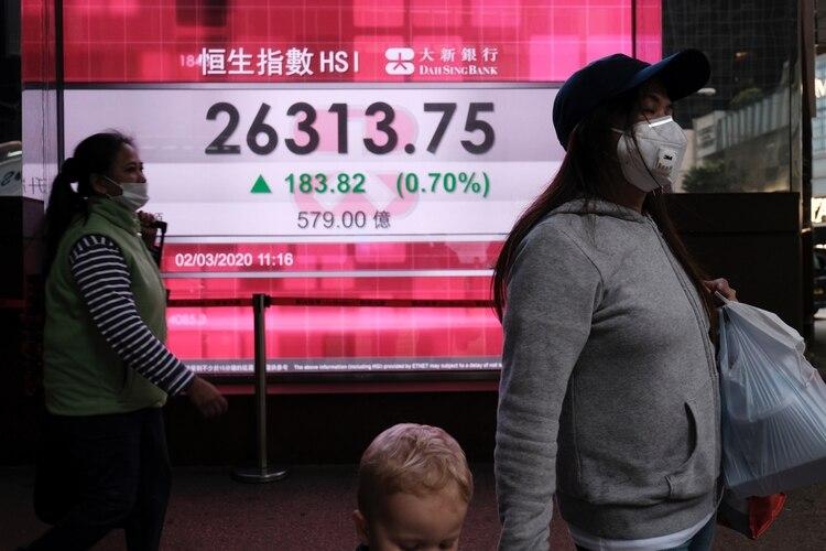 Las personas usan máscaras protectoras cuando pasan frente a un panel que muestra el índice Hang Seng durante el comercio matutino luego del brote del nuevo coronavirus en Hong Kong (Reuters)