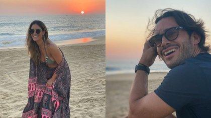Los famosos compartieron sendas fotos donde se aprecia el mismo atardecer en la playa, aunque trataron de ser discretos al no posar juntos (Foto: Instagram @melissalopez @ponchobaca)