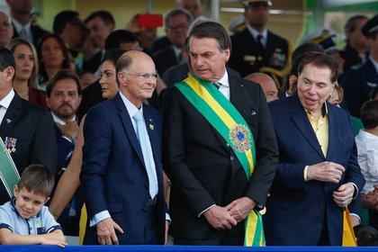 Edir Macedo con el presidente de Brasil, Jair Bolsonaro, en septiembre del 2019. El líder evangélico lo apoyó en la segunda vuelta de las elecciones de 2018.