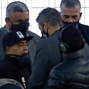 Argentina's Gimnasia y Esgrima La Plata coach, former football star Diego Armando Maradona (L), accompanied by the president of the Argentine Football Association (AFA), Claudio Tapia (2-L) and the president of Argentine first division league, Marcelo Tinelli (2-R), is honored before the start of a first division football league match against Patronato in La Plata, Buenos Aires province, Argentina, on October 30, 2020. - Argentina legend Diego Maradona turned 60 on Friday. (Photo by Demian ALDAY ESTEVEZ / POOL / AFP)