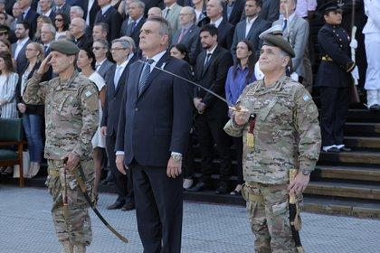 Agustín Rossi, ministro de Defensa, en una ceremonia en el Edificio Libertador. (Thomas Khazki)