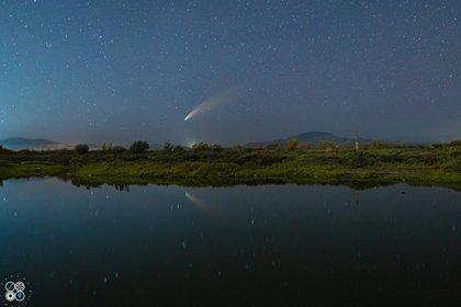 Imagen de Neowise este 18 de julio desde Loreto, en Baja California (Foto: Twitter KDrone Adventures)