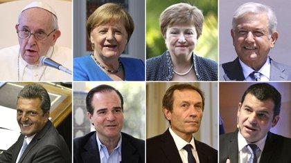 Francisco, Merkel, Georgieva, Lopez Obrador, (primera fila); Massa, Claver, Béliz y Galuccio (segunda fila). Jugadores clave que ayudaron a cerrar el acuerdo con los bonistas
