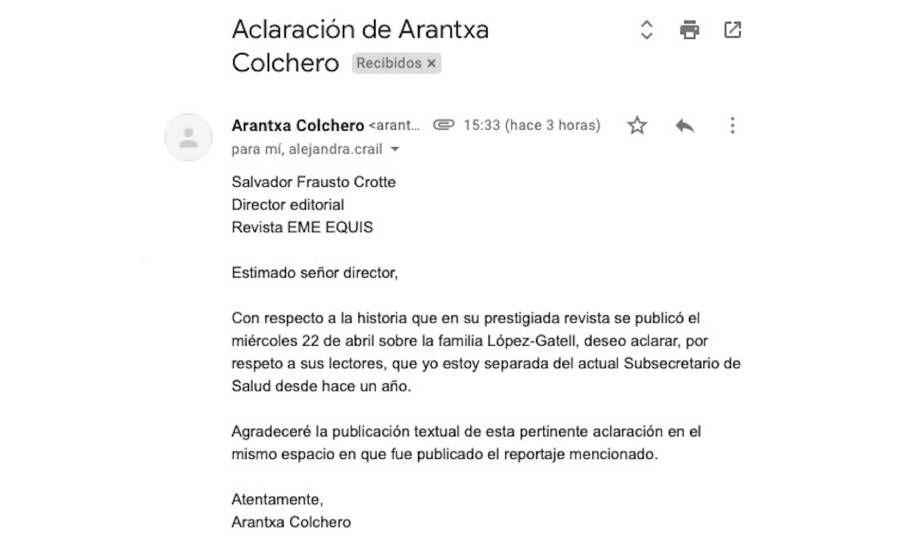 La solicitud de la doctora Colchero a la revista (Foto: EmeEquis)