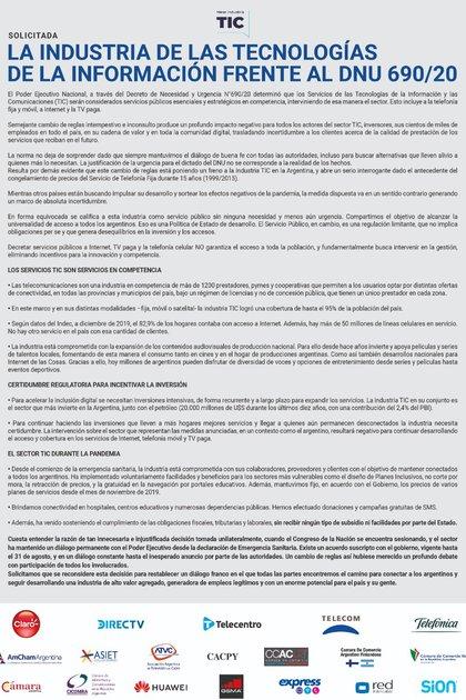 El texto que firmaron las empresas de telecomunicaciones y otros jugadores del sector