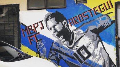 El mural que le dedicaron a Aróstegui en Malasia, donde es ídolo