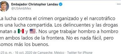 Lndau dijo que las drogas matan a México y EEUU (Foto: Twitter/USAmbMex)