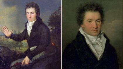 Joseph Willibrord Mähler por dos. El primer retrato (Museo de Viena) y el de la serie de Viena  (en Casa Museo de Bonn)