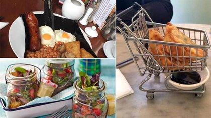 """Una pala de metal """"sirve"""" un suculento desayuno mex; croquetas fritas legan a la mesa en un mini – changuito de supermercado y ensaladas en frasco listas para degustar. (Twitter: We Want Plates)"""