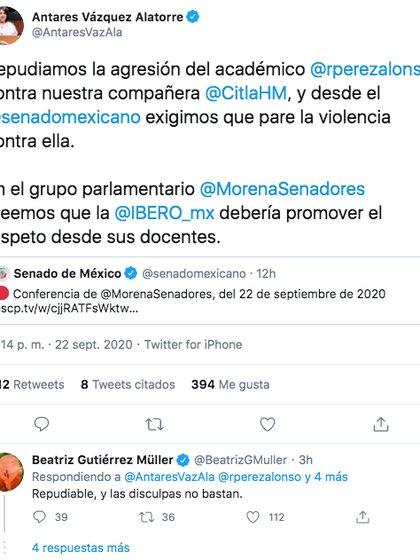 La esposa del presidente López Obrador rechazó los ataques del profesor Rodrigo Perezalonso en contra de la senadora Citlalli Hernández (Foto: Twitter)