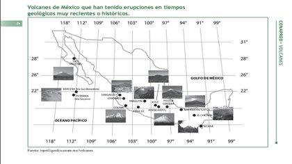 Volcanes en México con actividad volcánica reciente (Foto: cenapred.gob.mx)