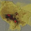 Un mapa satelital muestra la columna de humo que ya llegó a nuestro país (NOAA)
