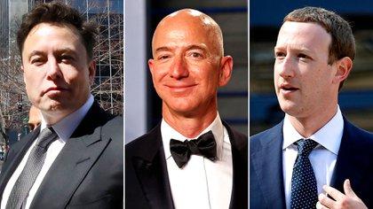 Elon Musk (Tesla), Jeff Bezos (Amazon) y Zuckerberg (Facebook), tres de los magnates de la tecnología que apuestan a la vida eterna