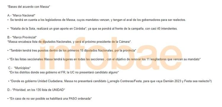 Borrador que se enviaron por Whatsapp los negociadores de Sergio Massa y Máximo Kirchner