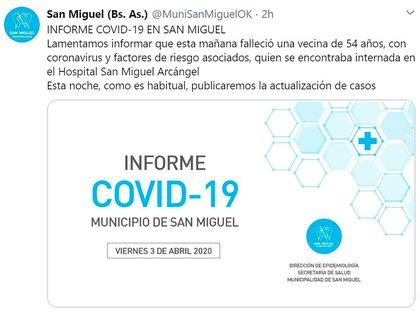 El tuit de la cuenta del municipio de San Miguel