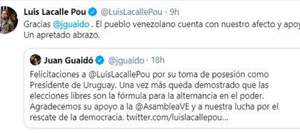 La respuesta de Lacalle Pou al mensaje de Juan Guaidó