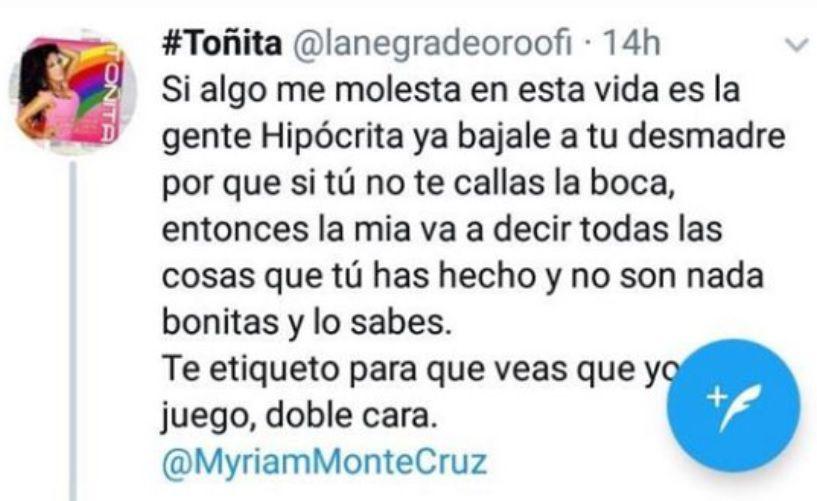 Este fue uno de los tantos mensajes que Toñita mandó contra Myriam cuando apenas empezaban a hacer públicas sus peleas (Captura: Twitter)