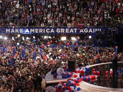 Donald Trump en la Convención Nacional Republicana de 2016 en Cleveland, Ohio. REUTERS/Carlo Allegri