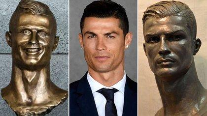 """Las estatuas de Cristiano Ronaldo, Una de ellas, la de la izquierda, recibió muchas críticas. """"A veces no se parecen"""", argumentó el Diez"""